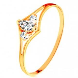 Prsteň zo žltého 14K zlata - rozdvojené ramená, tri číre zirkóny - Veľkosť: 49 mm