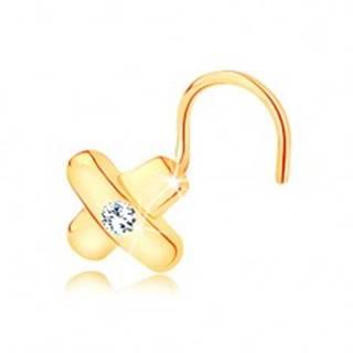 Zahnutý zlatý piercing 585 - prekrížené pásiky a číry zirkón v strede