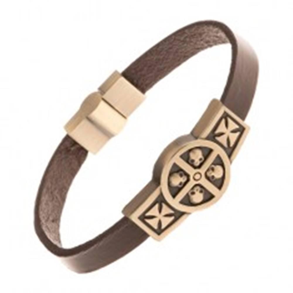 Šperky eshop Hnedý kožený náramok so známkou mosadznej farby - lebky v kruhu, kríže