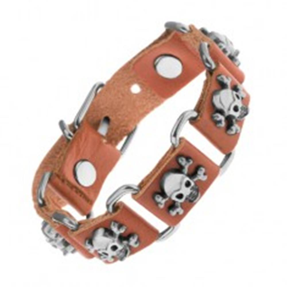 Šperky eshop Hnedý náramok zo syntetickej kože a ocele, lebky s prekríženými kosťami
