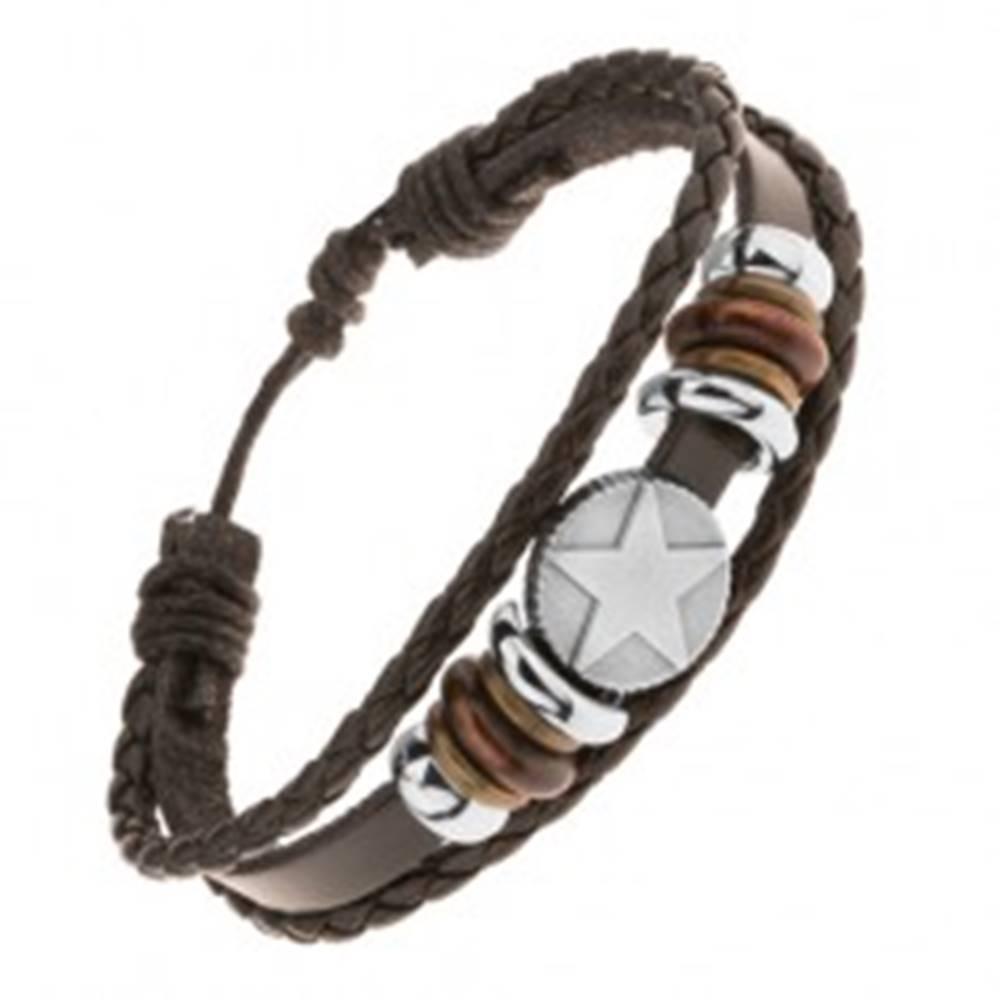 Šperky eshop Multináramok z kože a šnúrok, korálky z ocele a dreva, kruh s hviezdou