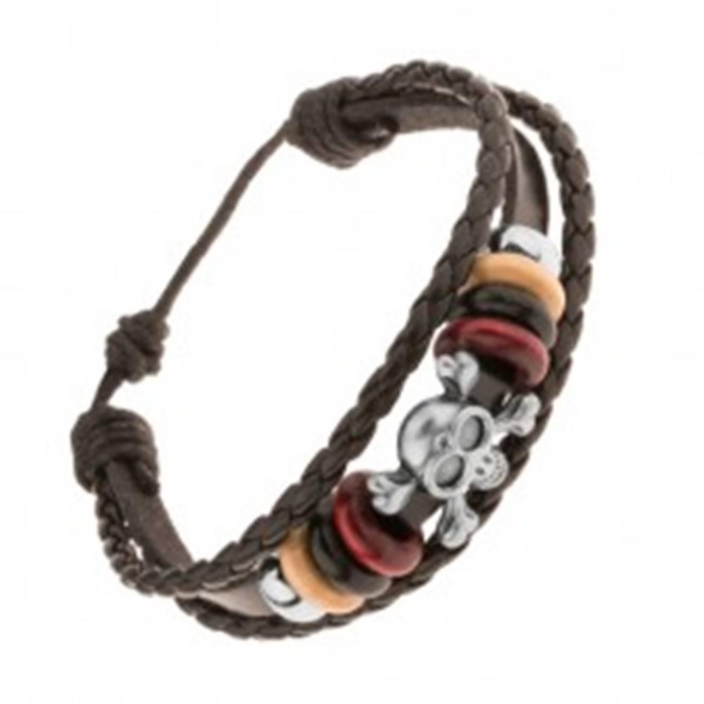Šperky eshop Multináramok z kože a šnúrok, korálky z ocele a dreva, lebka s kosťami