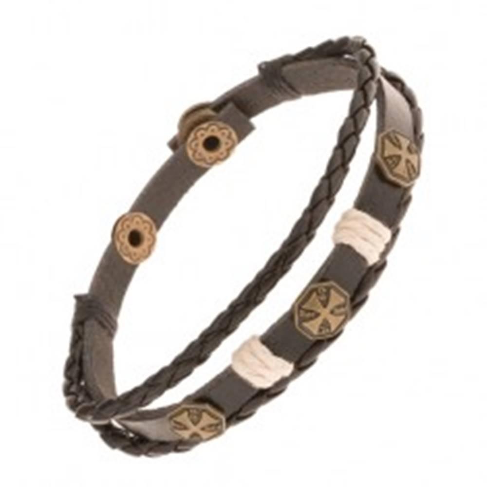 Šperky eshop Multináramok z umelej kože, tri maltézske kríže a béžové šnúrky