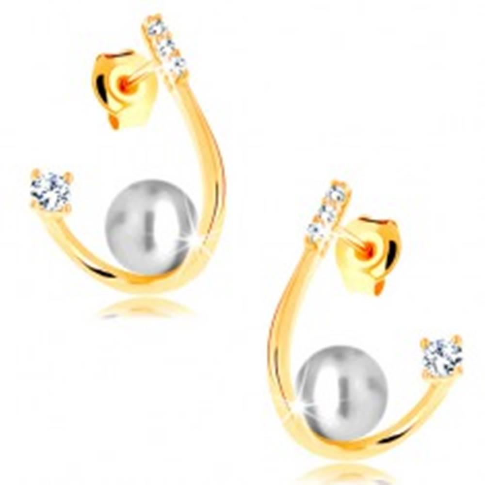 Šperky eshop Náušnice v žltom 14K zlate - oblá zahnutá línia, biela perla a zirkóny