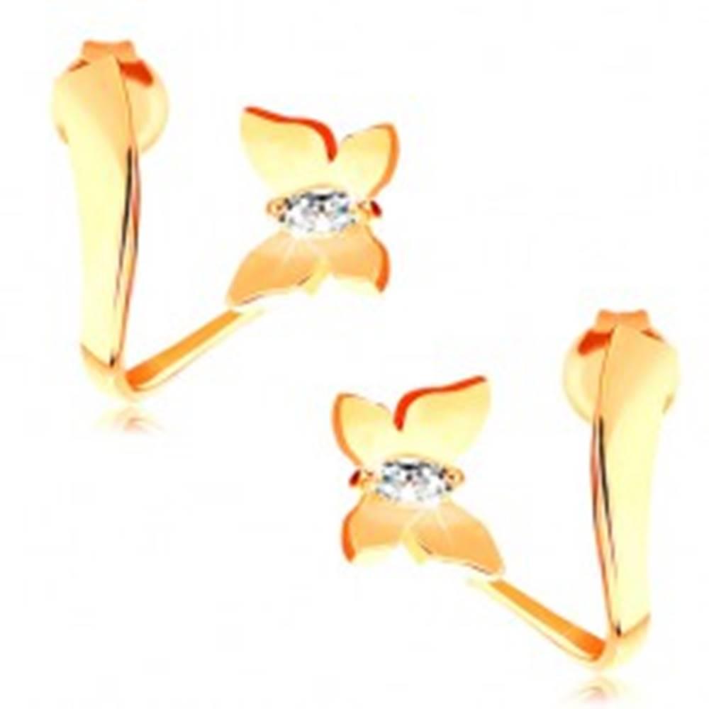 Šperky eshop Náušnice zo žltého 14K zlata - lesklý motýľ so zirkónmi na zvlnenej stuhe