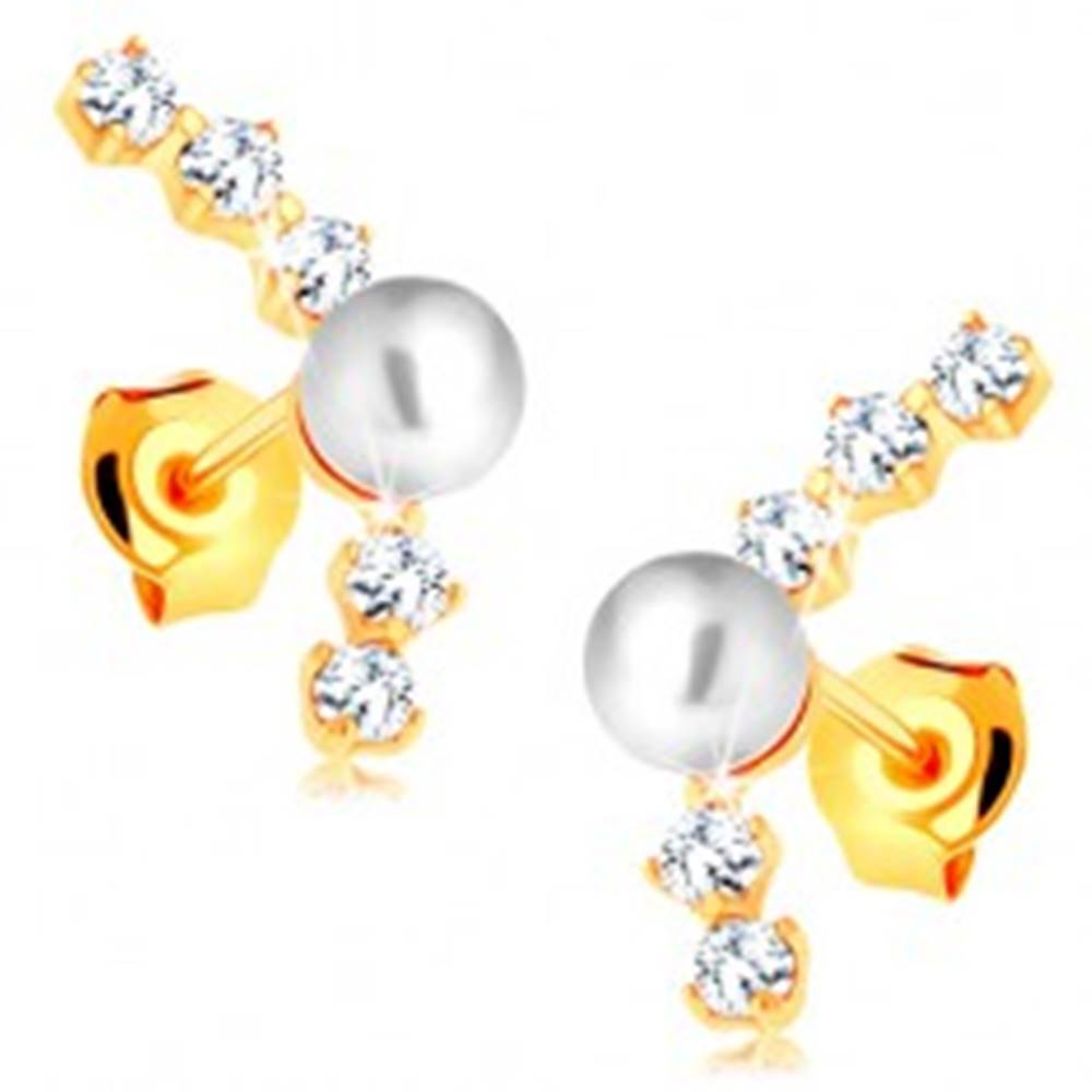 Šperky eshop Náušnice zo žltého 14K zlata - oblúk z čírych zirkónov, lesklá biela perlička