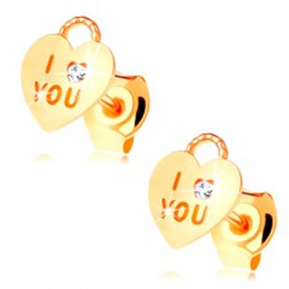 Šperky eshop Náušnice zo žltého 14K zlata - srdiečková kladka, číry zirkón, nápis I love you