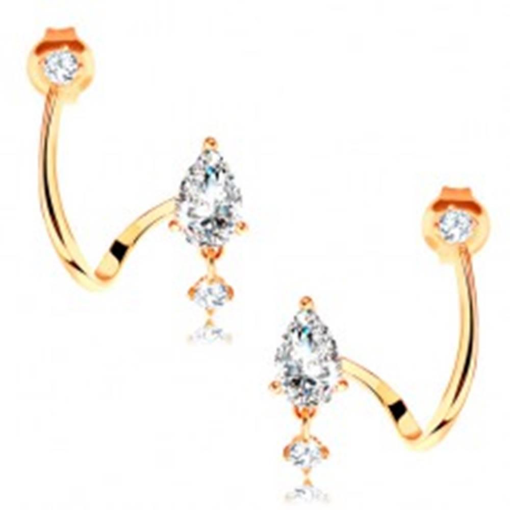Šperky eshop Náušnice zo žltého 14K zlata - zahnutá línia, brúsená číra kvapka, zirkónik