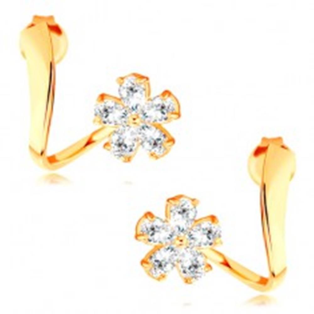 Šperky eshop Náušnice zo žltého 14K zlata - zvlnená stuha, ligotavý zirkónový kvet