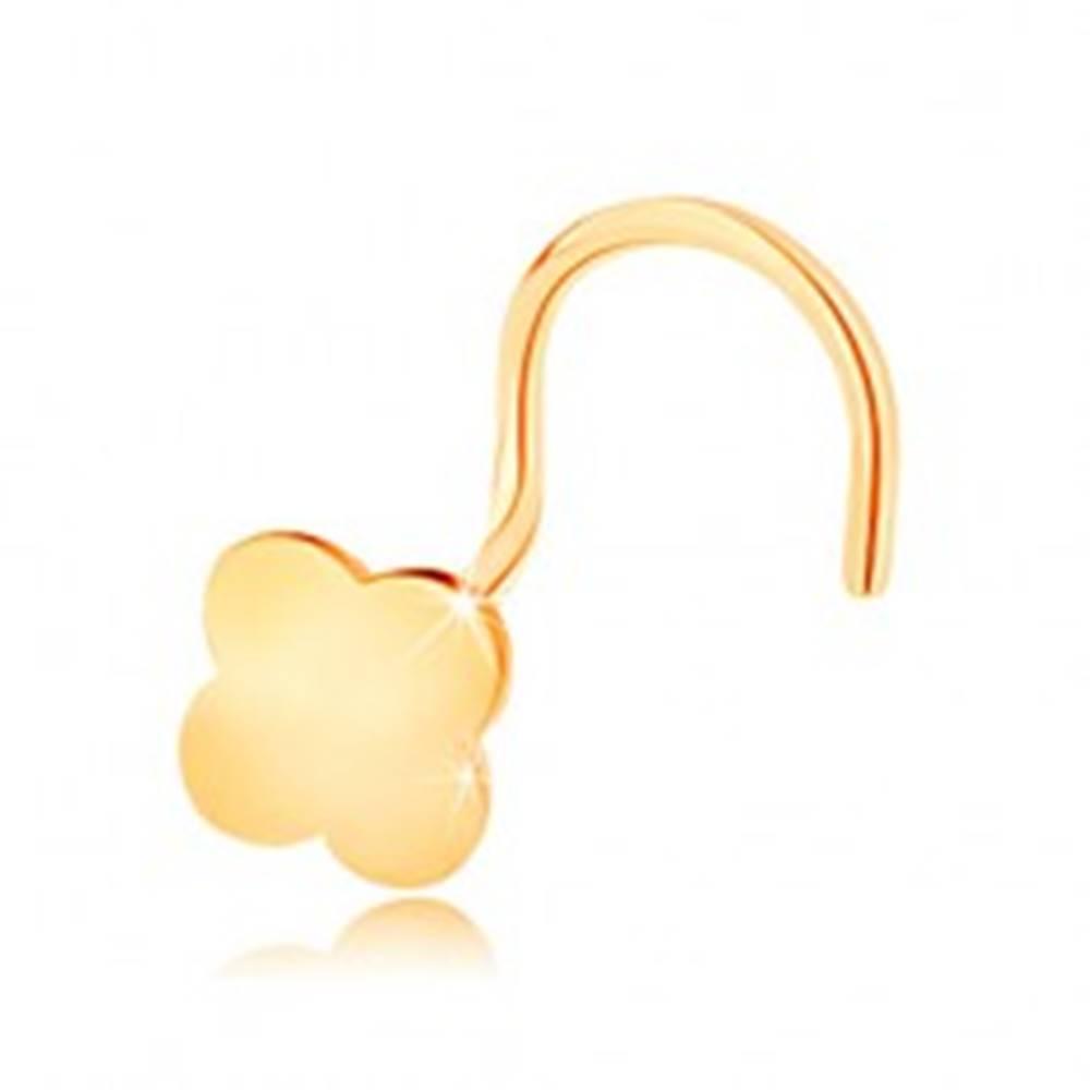 Šperky eshop Zahnutý piercing do nosa v žltom 14K zlate - malý štvorlístok pre šťastie