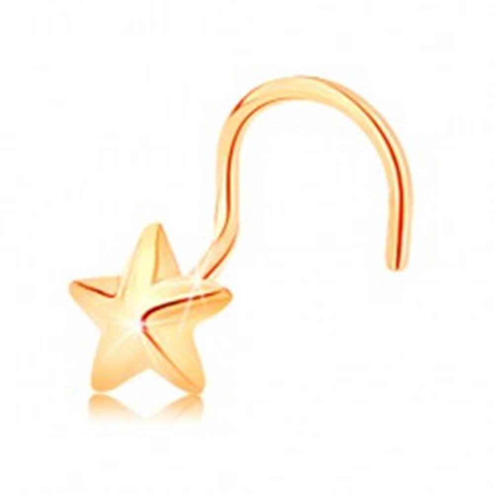 Šperky eshop Zahnutý zlatý piercing 585 - päťcípa vypuklá hviezdička s lesklým povrchom