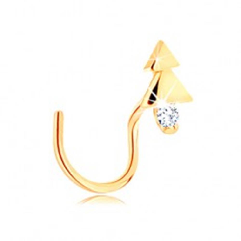 Šperky eshop Zahnutý zlatý piercing do nosa 585 - lesklý stromček s čírym zirkónom