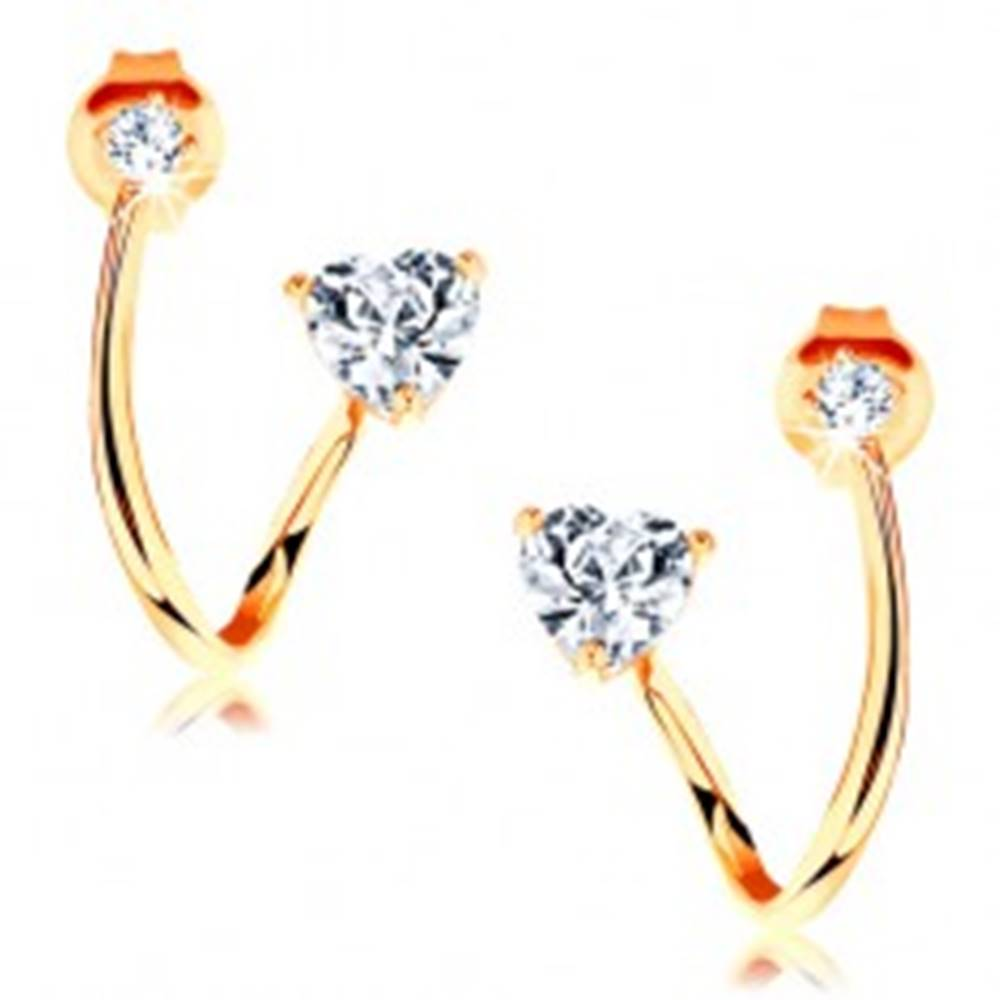 Šperky eshop Zlaté náušnice 585 - zaoblená línia zahnutá do oblúka, brúsené číre srdiečko