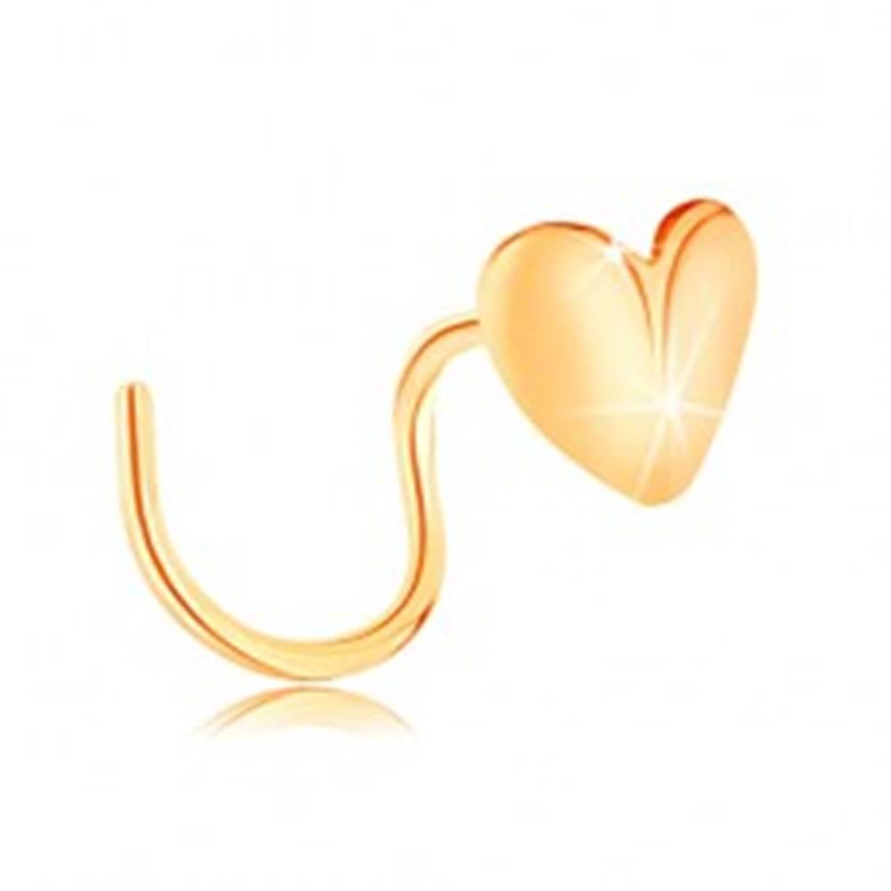 Šperky eshop Zlatý piercing do nosa 585, zahnutý - lesklé srdiečko, zalomené v strede