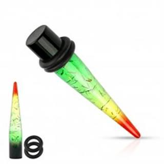 Akrylový expander do ucha v rasta štýle, priehľadný, pásiky zlatej farby - Hrúbka: 3 mm
