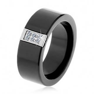 Čierny keramický prsteň s hladkým povrchom, oceľový obdĺžnik so zirkónmi - Veľkosť: 51 mm