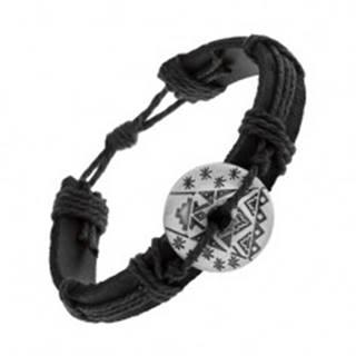 Čierny náramok zo syntetickej kože a šnúrok, kruh s výrezom a vzormi