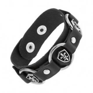 Kožený náramok čiernej farby, lesklé oceľové kruhy, symboly Fleur de Lis