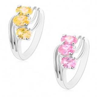 Lesklý prsteň striebornej farby, zirkónové ovály, tenké zvlnené línie - Veľkosť: 49 mm, Farba: Ružová