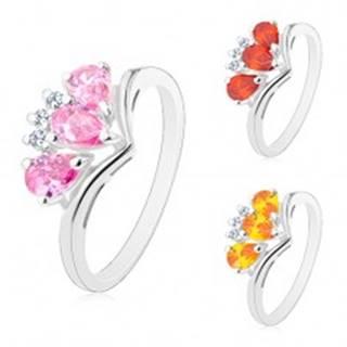 Ligotavý prsteň so zahnutými ramenami, tri farebné zirkónové slzičky - Veľkosť: 52 mm, Farba: Svetlooranžová