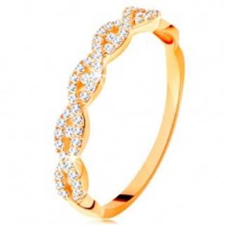 Ligotavý prsteň zo žltého 14K zlata - rozdelené prepletené ramená, zirkóny - Veľkosť: 49 mm