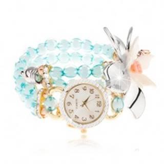 Náramkové hodinky z priehľadných modrých korálok, ciferník so zirkónmi, veľký kvet