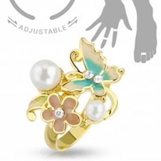 Nastaviteľný prsteň na ruku alebo nohu zlatej farby, motýľ, kvet a perličky