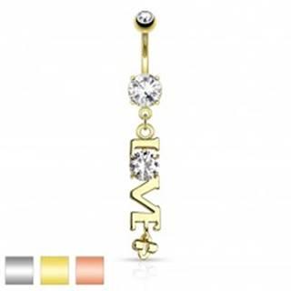 Oceľový piercing do brucha, prívesok - nápis LOVE s čírym zirkónom - Farba piercing: Medená