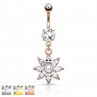 Oceľový piercing do pupku, trblietavý zirkónový kvet čírej farby, perlička - Farba piercing: Medená - číra