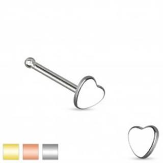 Piercing do nosa z chirurgickej ocele, malé symetrické srdiečko - Farba piercing: Medená