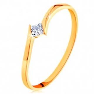 Prsteň v žltom 14K zlate - zahnuté konce ramien, štvorcový zirkónik - Veľkosť: 50 mm