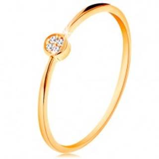 Prsteň v žltom zlate 585 - kruh vykladaný okrúhlymi zirkónmi čírej farby - Veľkosť: 49 mm
