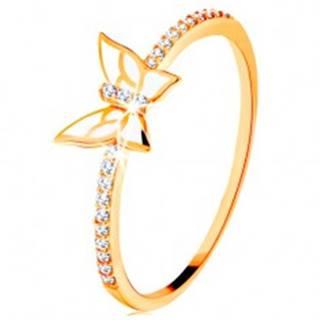 Prsteň zo žltého 14K zlata - trblietavé línie, biely glazúrovaný motýľ - Veľkosť: 49 mm
