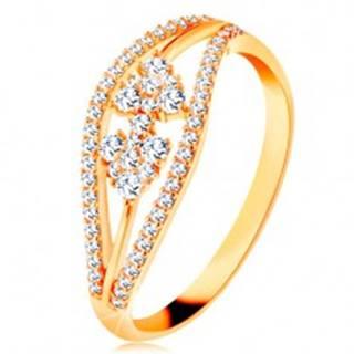 Prsteň zo žltého 14K zlata - zvlnené trblietavé línie a mašlička zo zirkónov - Veľkosť: 48 mm