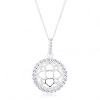 Strieborný 925 náhrdelník, retiazka a prívesok, trblietavý kruh, vypuklý ornament