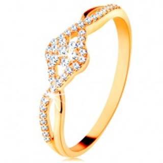 Zlatý prsteň 585 - prepletené rozdvojené ramená, číry zirkónový kvietok - Veľkosť: 49 mm
