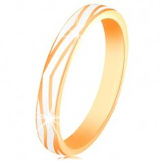 Zlatý prsteň 585 - zvlnené pásy z lesklej bielej glazúry, hladký povrch - Veľkosť: 53 mm