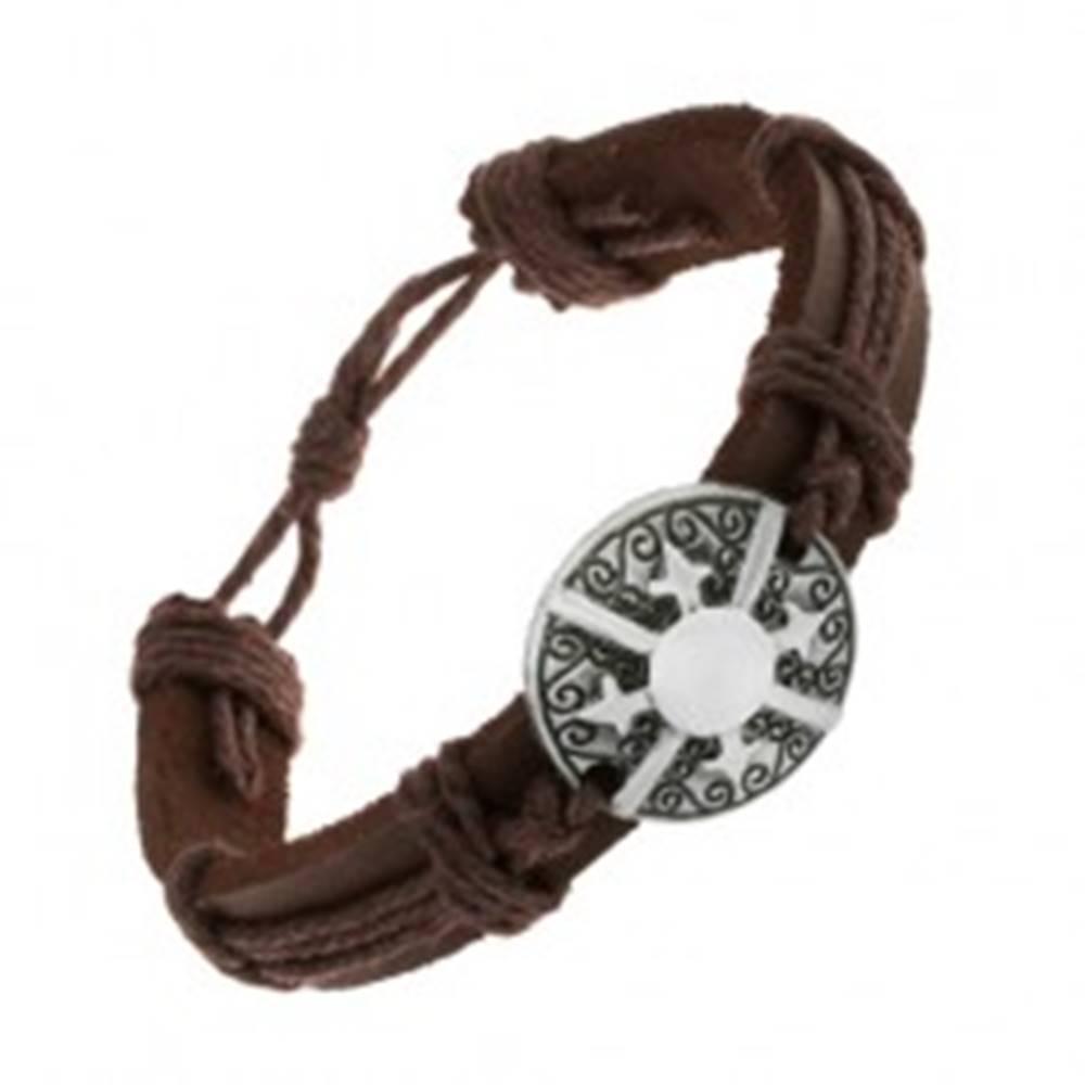 Šperky eshop Kožený náramok tmavohnedej farby, patinovaný kruh s ornamentami