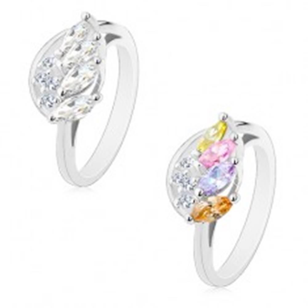 Šperky eshop Ligotavý prsteň so zvlneným ramenom, trblietavé anjelské krídlo - Veľkosť: 54 mm, Farba: Mix