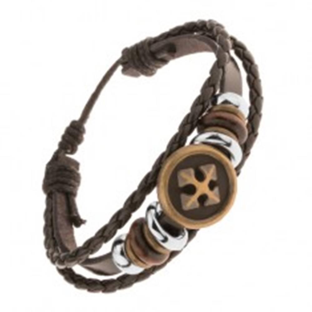 Šperky eshop Multináramok z kože a šnúrok, oceľové a drevené korálky, kríž v kruhu
