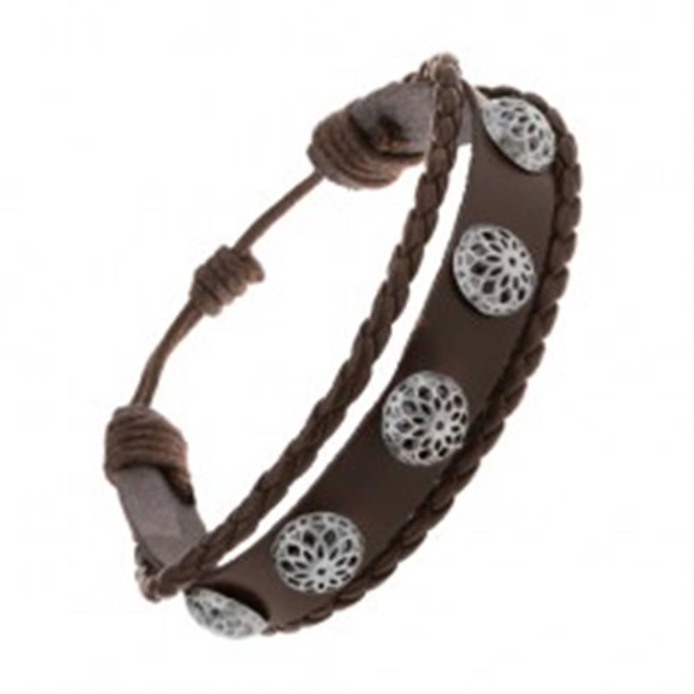 Šperky eshop Multináramok z tmavohnedej umelej kože, vypuklé patinované kvety