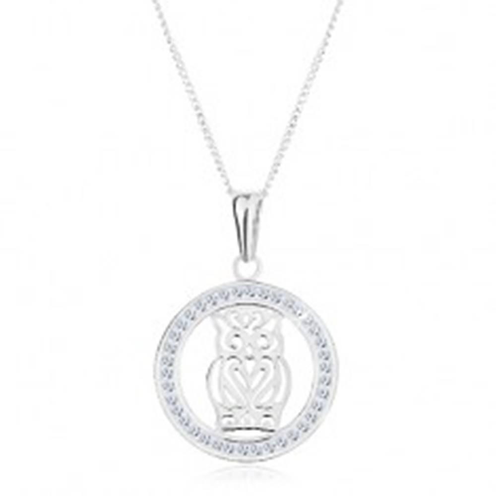 Šperky eshop Náhrdelník zo striebra 925, prívesok - vyrezávaná sova v trblietavej obruči