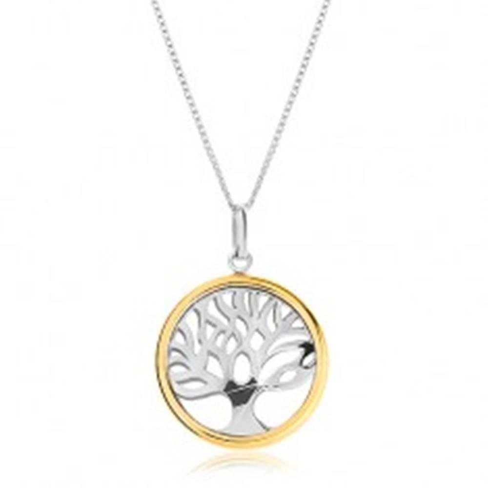Šperky eshop Náhrdelník zo striebra 925 s dvojfarebným príveskom - lesklý strom života v kruhu