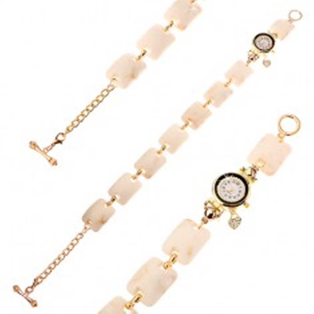 Šperky eshop Náramkové hodinky, vypuklé obdĺžniky s béžovo-hnedým mramorovým vzorom