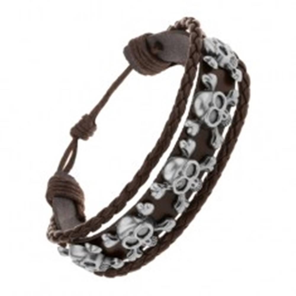 Šperky eshop Náramok z tmavohnedej umelej kože, oceľové lebky s prekríženými kosťami