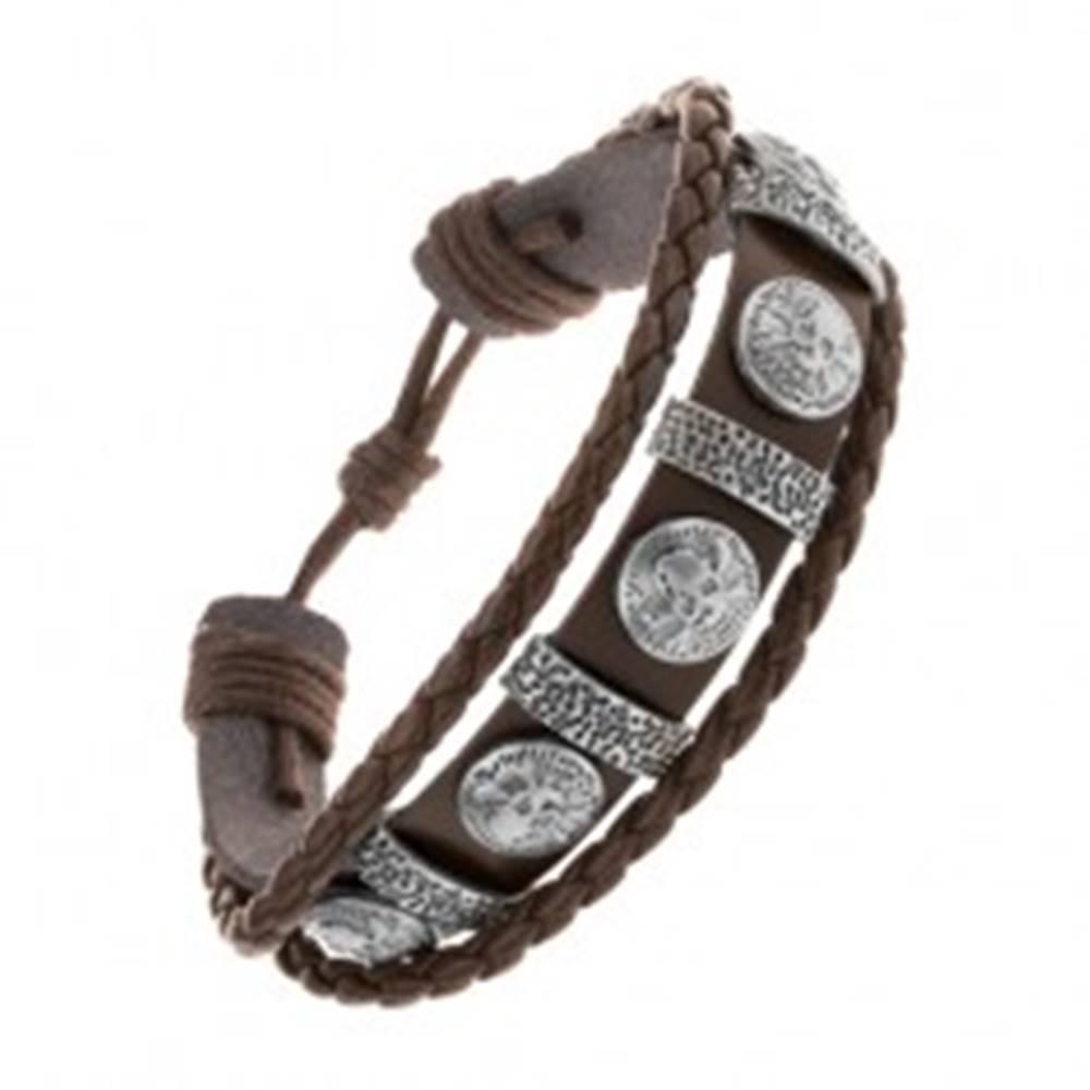 Šperky eshop Náramok z tmavohnedej umelej kože, oceľové ovály a kruhy s lebkami