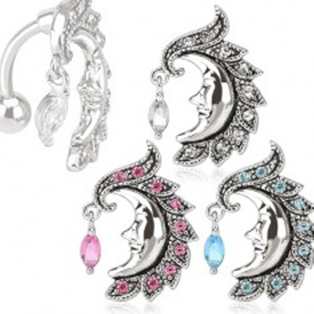 Šperky eshop Piercing do bruška, chirurgická oceľ, polmesiac s tvárou lemovanou zirkónmi - Farba zirkónu: Aqua modrá - Q