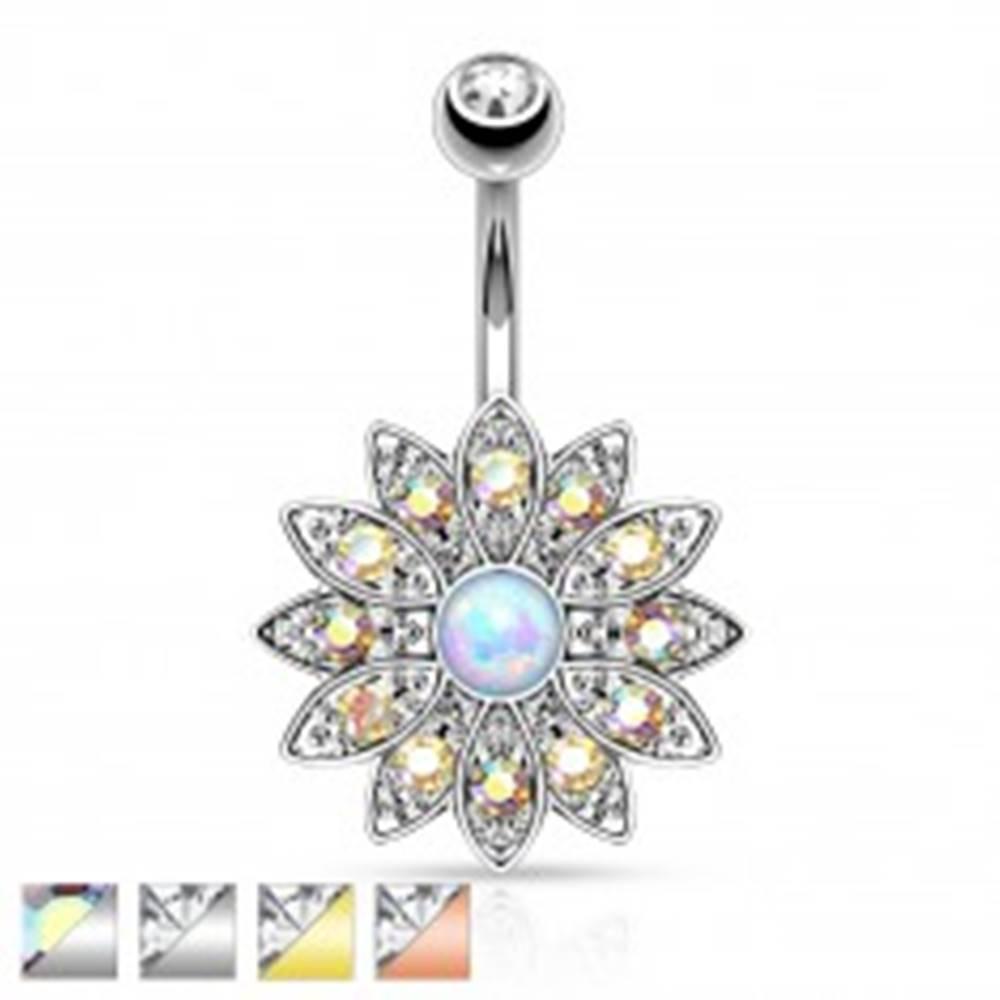 Šperky eshop Piercing do bruška z chirurgickej ocele, kvet so zirkónmi a syntetickým opálom - Farba piercing: Medená - číra
