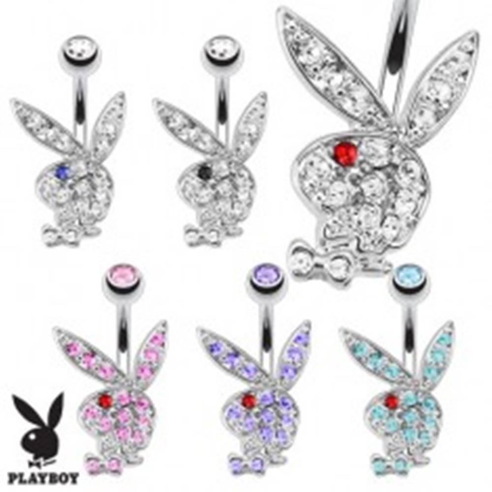 Šperky eshop Piercing do pupka z ocele 316L, zirkónový zajac Playboy s farebným očkom - Farba zirkónu: Aqua - červená