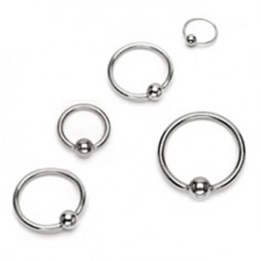 Šperky eshop Piercing z chirurgickej ocele - lesklý krúžok s guličkou, strieborná farba - Hrúbka x priemer x veľkosť guličky: 1,2 x 10 x 3 mm